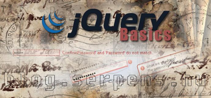 jQuery két jelszó összehasonlítása gépelés közben
